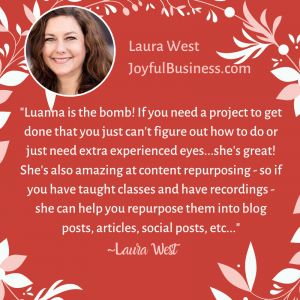Testimonial for Luanna Rodham by Laura West